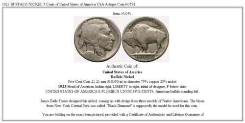 1923 BUFFALO NICKEL 5 Cents of United States of America USA Antique Coin i43591 3