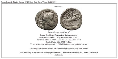 Roman Republic Titurius, Sabinus 89BC Silver Coin Horse Victory Cult  i36531 3