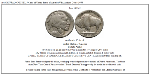1924 BUFFALO NICKEL 5 Cents of United States of America USA Antique Coin i43665 3