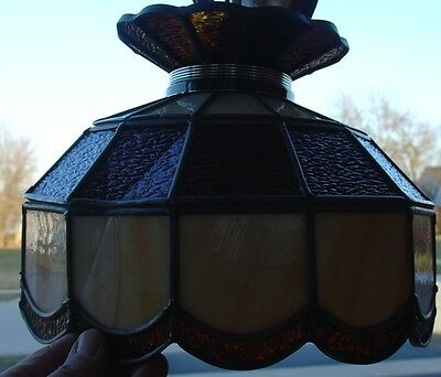 Vintage Stained Leaded Slag Glass PARLOR Lamp Amber & Opal Color Tiffany Style 4