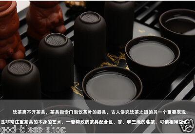 Chinese kung fu tea set purple clay tea pot gaiwan mini cup solid wood tea tray 2