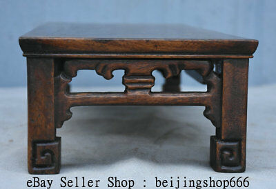 "14"" Old Chinese Huanghuali Wood Hand Carved Natural Lines Table Desk Furniture 8"