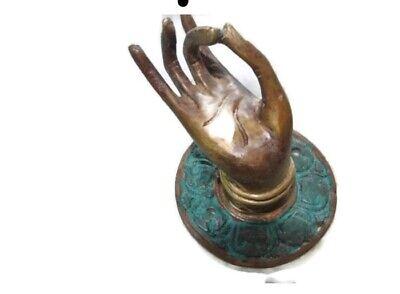 "4 small green handle hand solid brass door old style knob hook 2.1/4 ""buddha B 8"