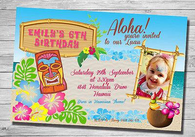 3 Of 12 MAUI Invitation Hawaiian MOANA INVITATION Luau Birthday Party Invite TIKI
