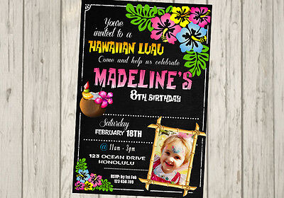 MAUI Invitation Hawaiian MOANA INVITATION Luau Birthday Party Invite TIKI 3