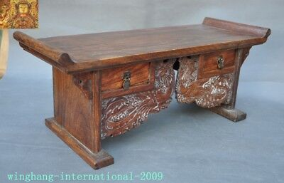 Chinese Huanghuali Old wood carved Phoenix Bird drawer coffee table Desk statue 6