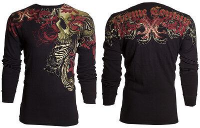 Xtreme Couture AFFLICTION Men THERMAL T-Shirt TELEPHUS Skull Biker UFC S-3XL $58 3