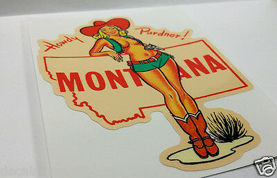 MONTANA Cowgirl Pinup Vintage Style Travel Decal, Vinyl Sticker, Luggage Label 2