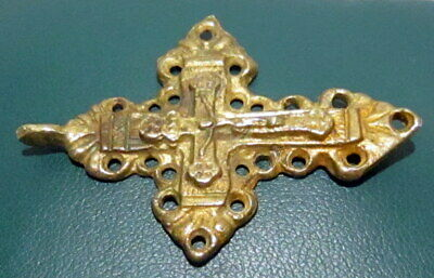 Outstanding Post Medieval Silver Cross Pendant, Gold Plated, Crucifixion # 776 2