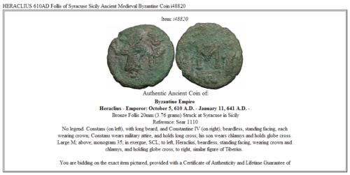 HERACLIUS 610AD Follis of Syracuse Sicily Ancient Medieval Byzantine Coin i48820 3