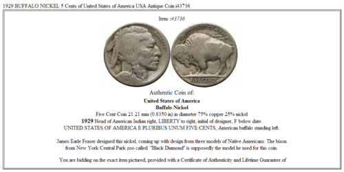 1929 BUFFALO NICKEL 5 Cents of United States of America USA Antique Coin i43736 3