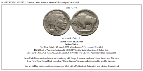 1936 BUFFALO NICKEL 5 Cents of United States of America USA Antique Coin i43818 3