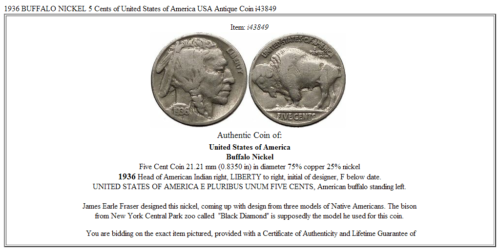 1936 BUFFALO NICKEL 5 Cents of United States of America USA Antique Coin i43849 3