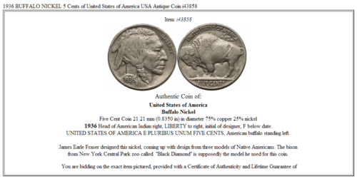1936 BUFFALO NICKEL 5 Cents of United States of America USA Antique Coin i43858 3