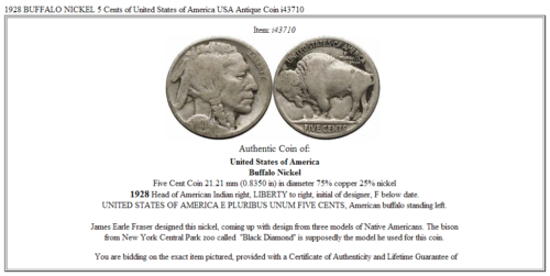1928 BUFFALO NICKEL 5 Cents of United States of America USA Antique Coin i43710 3