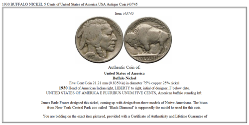 1930 BUFFALO NICKEL 5 Cents of United States of America USA Antique Coin i43745 3