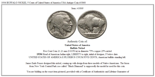 1936 BUFFALO NICKEL 5 Cents of United States of America USA Antique Coin i43860 3