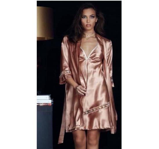 Kimono Vestaglia Notte donna made Italy col. seta rosso nero 100% made in Italy 3