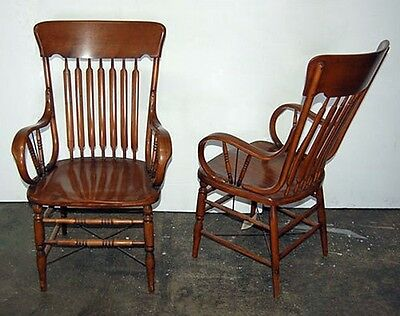 Pair of Oak Arrow Back Arm Chairs, Americana #3461 2