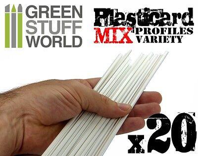 20x Plasticard PROFILÉS Mixtes - Bandelettes Plasticarte profilé - Plaques choc