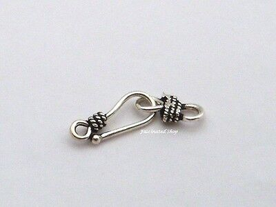 3 sets 16mm MINI oxidized Sterling Silver Bali Bead S coil wire hook Clasp F50