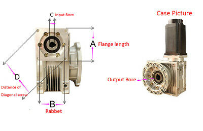 5:1 Worm Gear Reducer Speed Gearbox NMRV030 for NEMA23 Sevor / Stepper Motor 9
