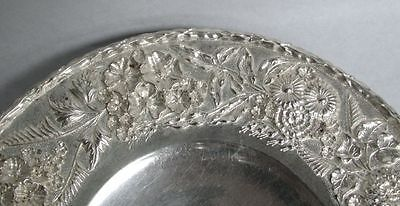S Kirk & Son Sterling Silver Repousse' 3D High Relief Low Footed Cake Dish #193 2
