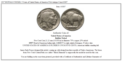 1937 BUFFALO NICKEL 5 Cents of United States of America USA Antique Coin i43887 3