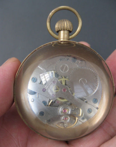 2.4In Old antique brass clock round spherical glass mechanical pocket watch 2