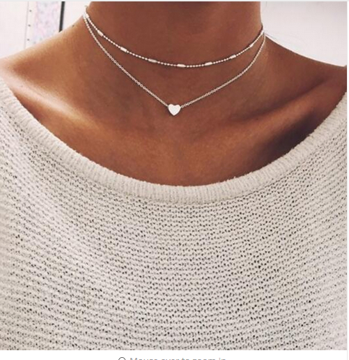 Necklace double layer heart chain  multilayer choker pendant  gold silver Hot UK 2