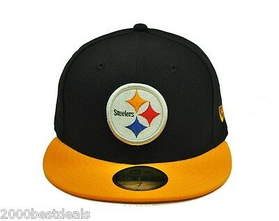 new product ebad7 01174 ... New Era 59Fifty Cap NFL Pittsburgh Steelers Mens Black Yellow Fitted  5950 Hat 3