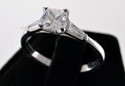 Princess Cut Simulated Diamond Baguette Sterling Silver Engagement Ring 2.70 Ctw
