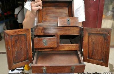 """10"""" Old china Boxwood wood carving flower bird Magpie Storage Box Jewelry boxes 9"""