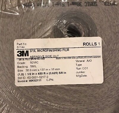 NEW 3M 373L Microfinishing Film Roll 1.5in x450ft x5/8in Abrasive Side OUT 50MIC 2