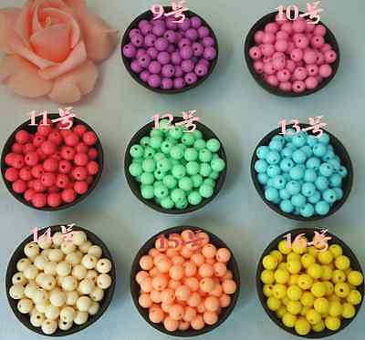 Smooth Ball Spacer Pastel Color Acrylic Round Loose Beads 4mm 6mm 8mm 10mm 12mm 4