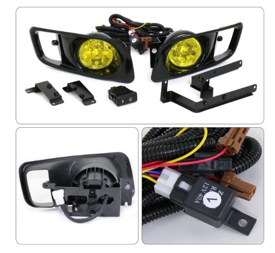 Honda Civic 99-00 EM2 OEM PAIRFront Bumper PAIR Fog Lights LAMP Amber Lens+Bulb