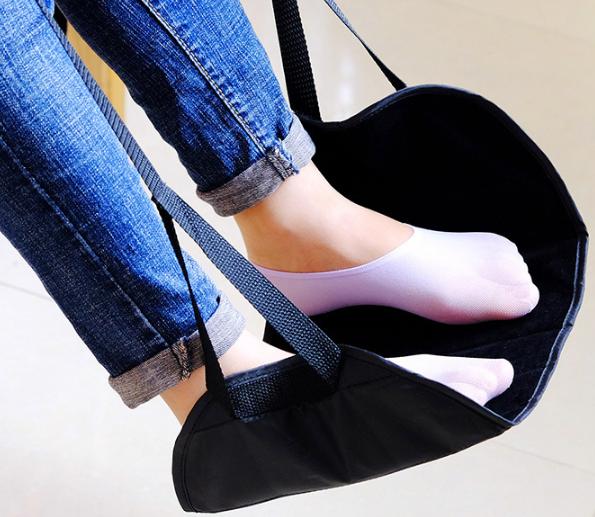 Portable Travel Foot Rest Hammock Flight Carry-on Leg Pillows Footrest Pat Bed 2