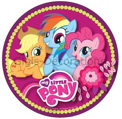 My Little Pony Edible Kids Birthday Party Cake Decoration Topper Round Image