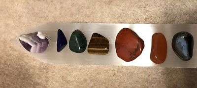 GODDESS BLESSED Chakra Gemstone Set Polished Selenite Rainbow  Crystal Healing 10