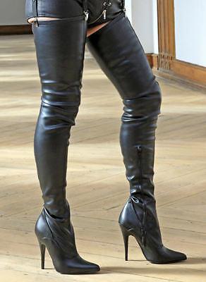 High-Heels Crotch-Stiefel, extralang, Stretchkunstleder, schwarz,Gr.37,40,43, 2