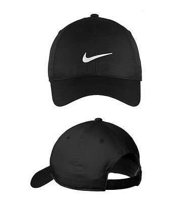 752f670f0ba NEW NIKE HAT-BLACK With White Swoosh-Dri-Fit-Baseball Cap-Adjustable ...