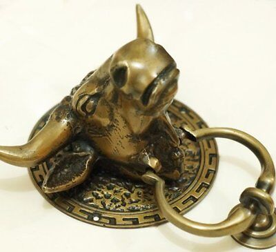 heavy Bull horns front Door Knocker SOLID 100% BRASS old style house steer COW B 12