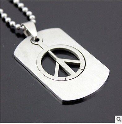 HOT Peace Womens Men's Silver 316L Stainless Steel Titanium Pendant Necklace 2