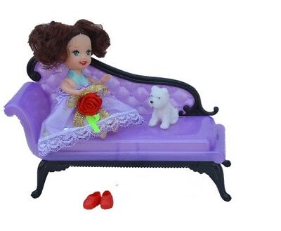 Doll Accessories Mini Dollhouse Furniture Flower Sofa Couch For 1/6 Doll Toy 2