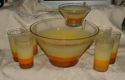 1960s Chip & Dip Set w/ 6 Tumblers Frosted Ombre Yellow Orange Brown CHATTANOOGA 2