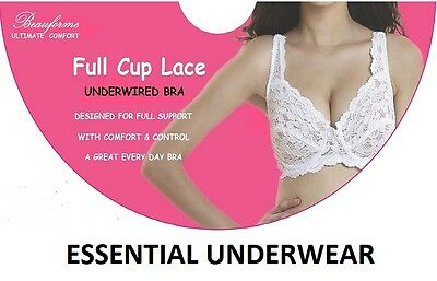 LACE FULL CUP NON-PADDED SUPPORT UNDERWIRED BRA BLACK /& WHITE 34-44 B-DD