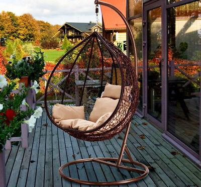 Hanging Rattan Swing Patio Garden Chair Weave Egg w/ Cushion In Outdoor 2