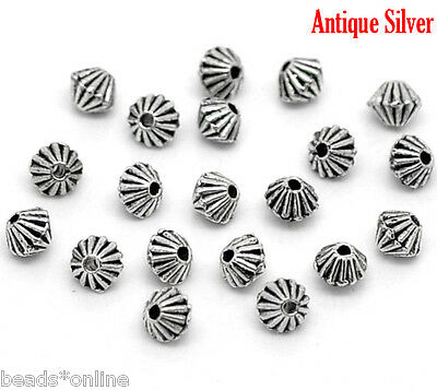 200Pcs Silver Tone Bicone Spacer Beads Findings 2