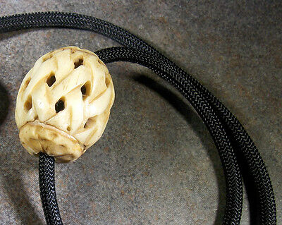 Naked and Afraid TV Show  Carved Bone Bead, Para Cord Reproduction Necklace 4