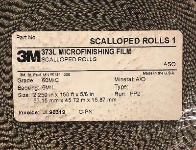 "NEW 1 Case 3M 373L Microfinishing Film 4 Scalloped Rolls 2.25"" 150' 5/8"" 60 MIC 2"